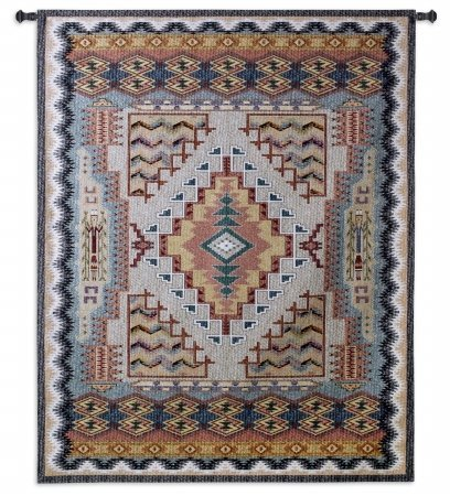 FineArtTapestries 2933-WH Southwest Turquoise Small Wall Tapestry by Fine Art Tapestries