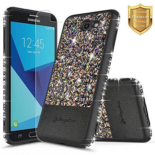 NageBee Shiny Diamond Glitter Bling Crystal Super Slim Leather Hybrid Case with [Screen Protector HD Clear] for Samsung Galaxy J3 Emerge (J327), Galaxy J3 Eclipse/Galaxy J3 Prime (Black)