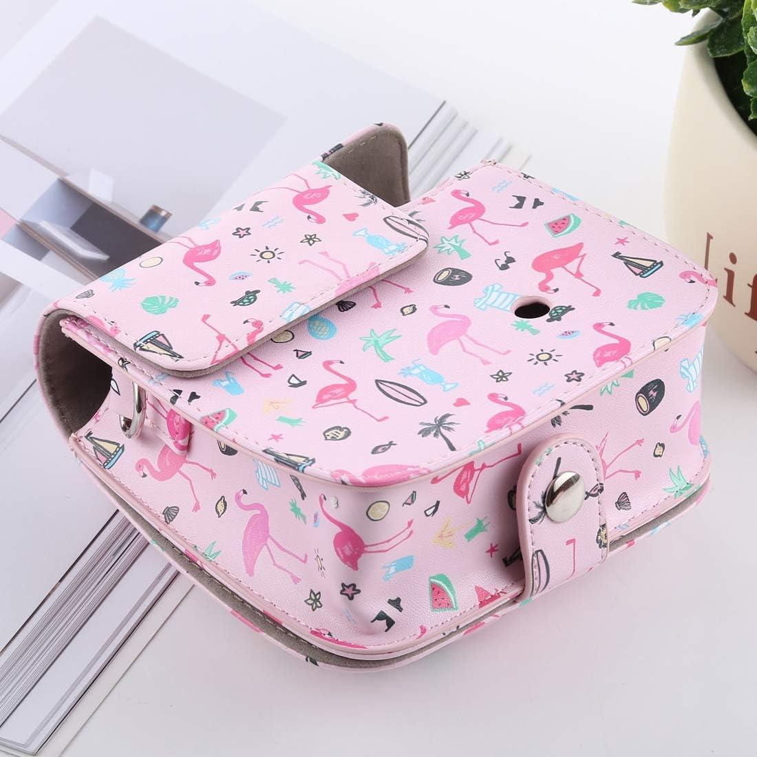 Mini 8+ YANTAIANJANE Camera Accessories Watermelon Flamingo Pattern Full Body Camera PU Leather Case Bag with Strap for FUJIFILM instax Mini 9 Mini 8