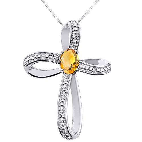 Diamond citrine cross pendant necklace set in sterling silver 925 diamond citrine cross pendant necklace set in sterling silver 925 with 18quot aloadofball Gallery