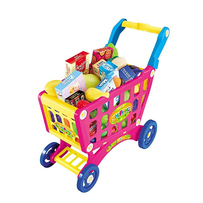 Amazon.com: DREAMALVA Kid Toy Household Playsets Children Shopping Cart Supermarket Trolley Play Set, Fruit Vegetables Toy Shopping Basket with Rolling ...