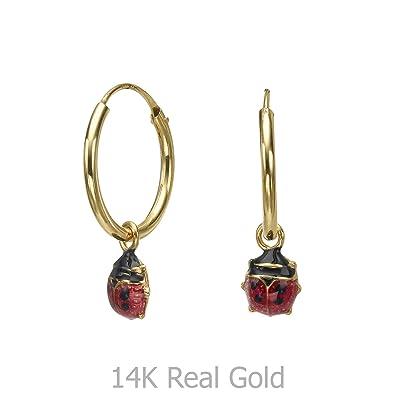 14K Solid Yellow Gold Ladybug Earrings