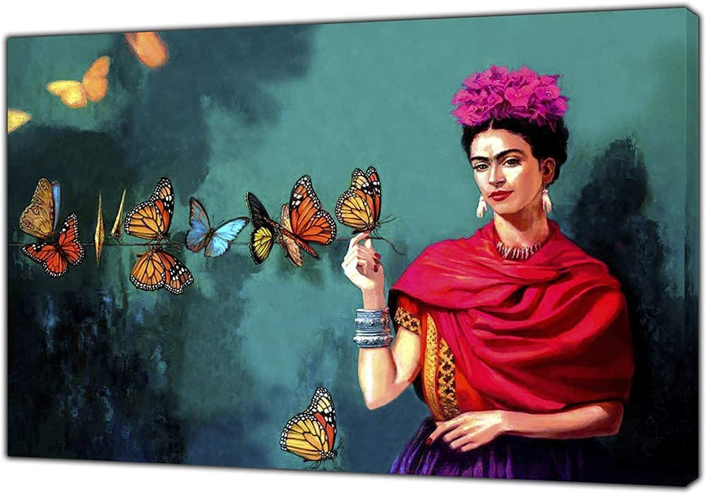 DLJJPHFZCanvas Print And Poster,Frida Kahlo And Butterfly Print on Canvas Wall Art Picture Home Decor Canvas Painting for Living Room,Bedroom,Frameless,70×100cm