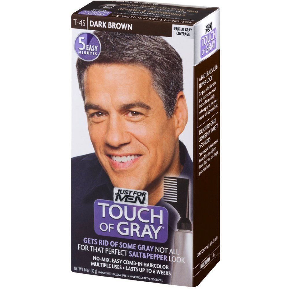 JUST FOR MEN Touch of Gray Hair Treatment T-45 Dark Brown, 1 Each (Pack of 6) by Just for Men