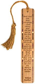product image for Personalized Read Everything Quote by William Faulkner, Engraved Wooden Bookmark with Tassel - Search B079DYZCSL for Non-Personalized Version