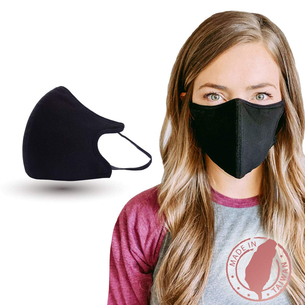 Copper Ion Infused Black Mask by Shero, Comfortable Protective Face Cover, Re-usable, Washable, Adjustable Ear Loop, 6 Layer, Fluid Resistance, Made in Taiwan, Fulfilled and shipped from Arkansas, Free Standard Shipping