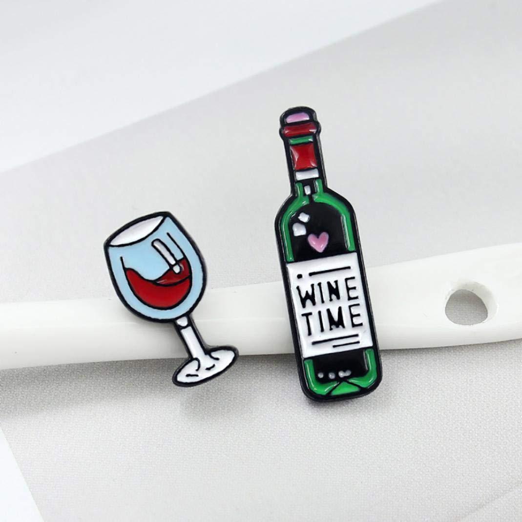 Lettera inglese Tempo vino Bottiglia di vetro Distintivo Collare Spilla Pin Gioielli con risvolto 1# Ruby569y Spilla Accessori di Abbigliamento zaini Cappelli per
