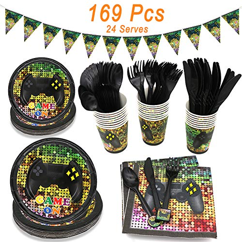 Video Game Party Supplies, Angela&Alex 169 Pieces 24 Guests Gaming of Themed Party Birthday Banner Round Plates Cups Napkins Dessert Plate Forks Knives Spoons Game On Supplies Decor (Alex Games)