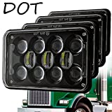 "Newest 60W 4""x6"" Inch LED Headlights with DRL for H4651 H4652 H4656 H4666 H6545 Freightliner Kenworth Peterbilt International Volvo Sterling Western Star Mack(Black 4Pcs)"
