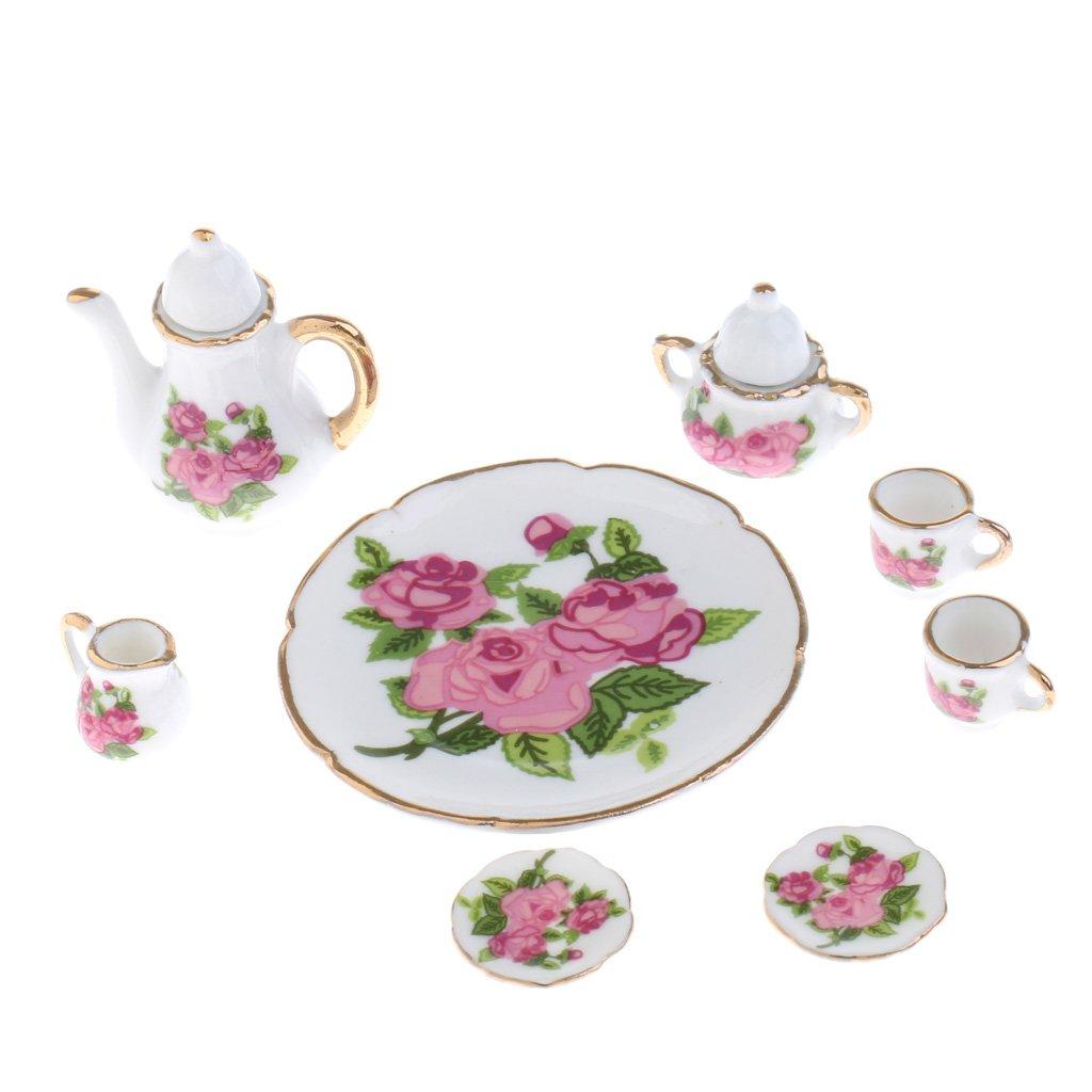 Prettyia Tea 1/6 Scale Dollhouse Miniatures Kit Rose Flowers Porcelain Rose China Tea Set Kit 8pcs B07BLKZCQG, 豊和:887da132 --- alumnibooster.club