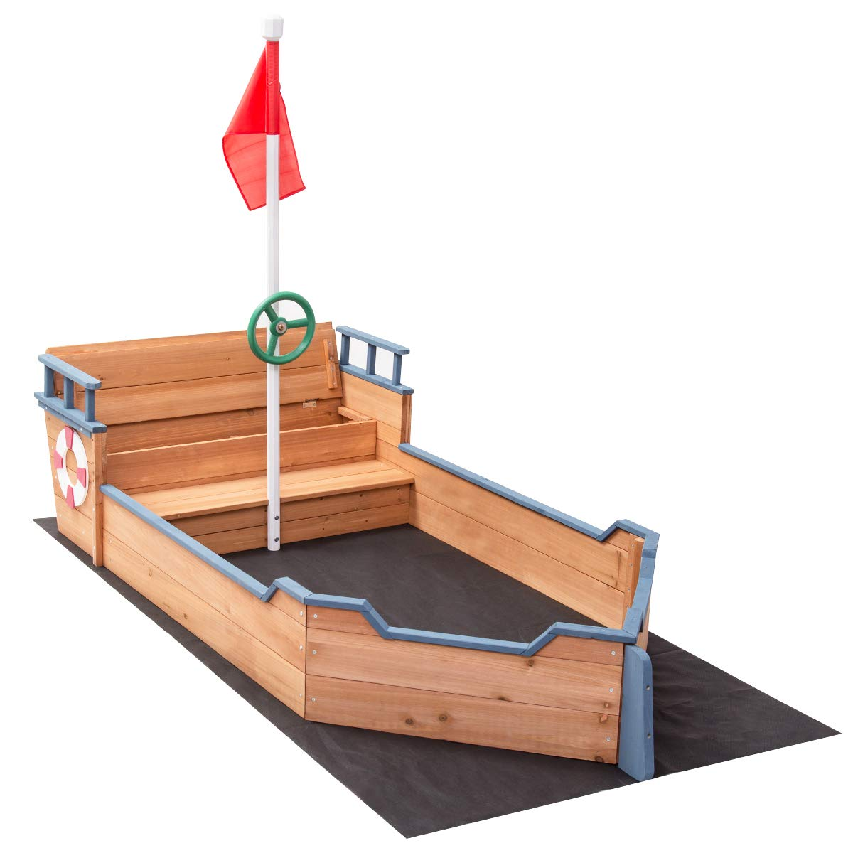 Costzon Pirate Boat Wood Sandbox for Kids with Bench Seat and Flag, Pirate Sandboat by Costzon