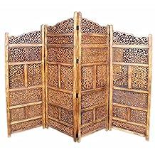 Benzara Villa Este Wood Room Divider 4 Panel Carved Screen