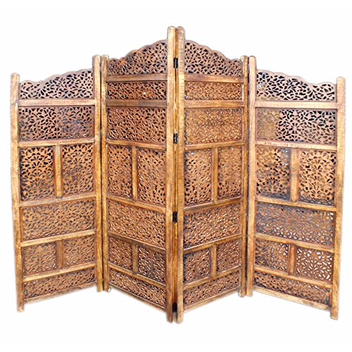 Benzara BM01875 Hand Carved Foldable 4-Panel Wooden Partition Screen/ Room Divider, Brown