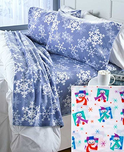 Cozy Queen Fleece Sheet Set (Multi-Colored Snowman)