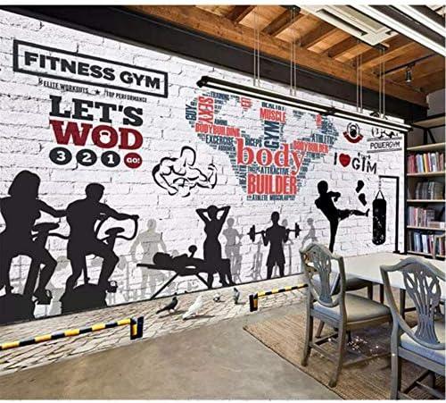 Xbwy カスタム壁画壁紙ジム壁画レンガ壁運動フィットネスクラブ画像壁の背景装飾的壁紙3 D写真壁紙-400X280Cm