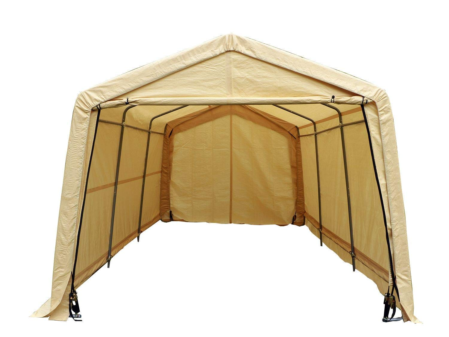 UHOM Auto Shelter 10x10x8 Portable Outdoor Garage Storage Shed Canopy Carport Beige