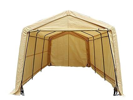 Enjoyable Uhom Auto Shelter 10X15X8 Portable Outdoor Garage Storage Shed Canopy Carport Beige Interior Design Ideas Skatsoteloinfo