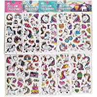 xiaoma captain Unicorn Stickers Stereo Silver Bump Cool Laptop Sticker, Birthday Decor Party Travel Planner Sticker 8 Sheets (160+Stickers)