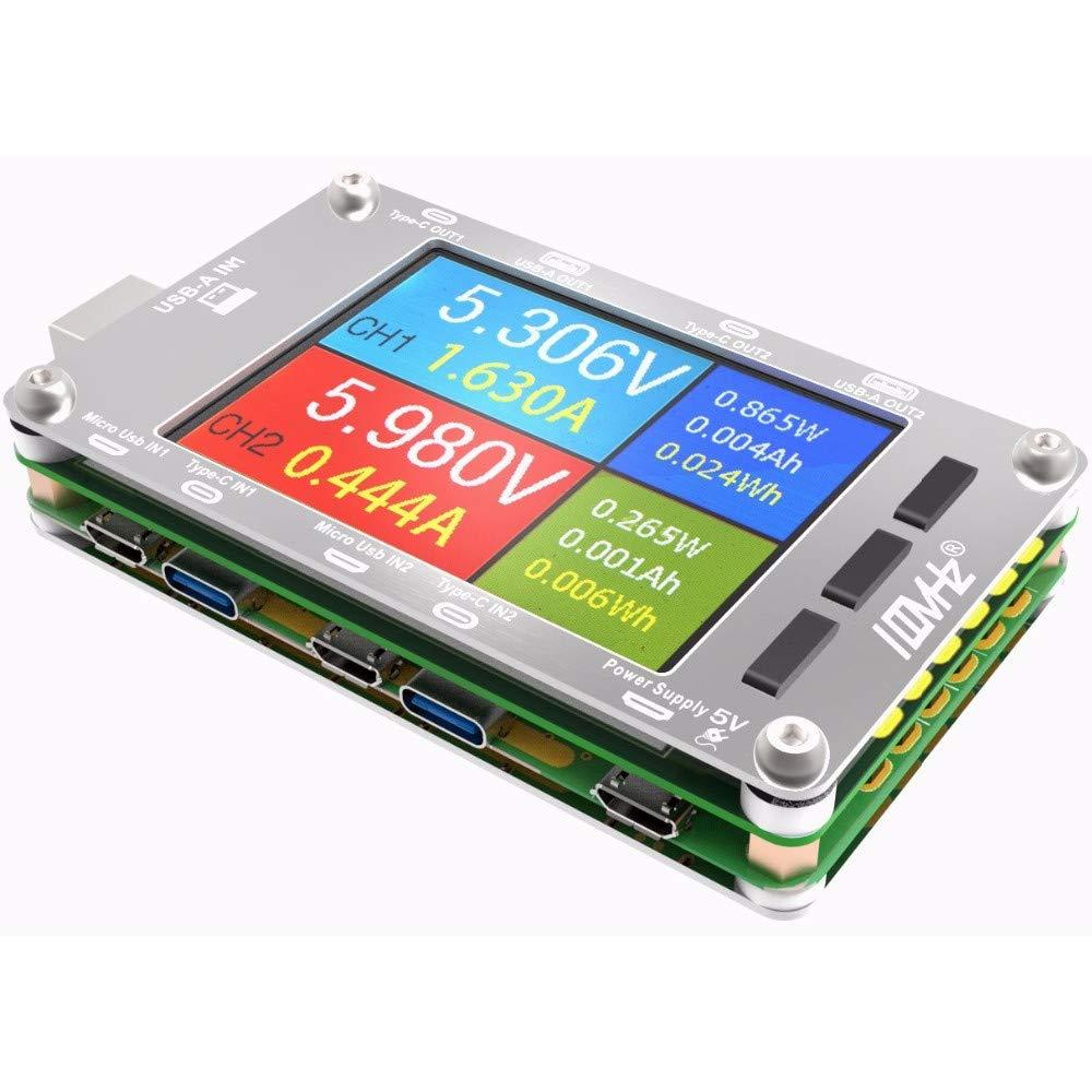 Prament T50N USBデュアルチャンネルパワーモニタPD QC3.0 QC2.0テスターメーター電圧電流容量テーブルステンレスケース COD   B07K5K95PX