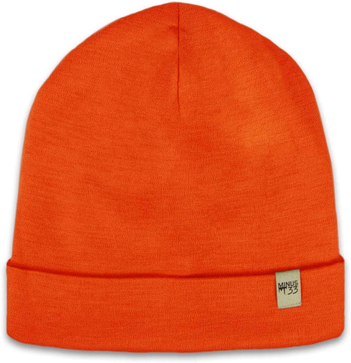 Minus33 Merino Wool Ridge Cuff Beanie Blaze Orange One Size: Clothing
