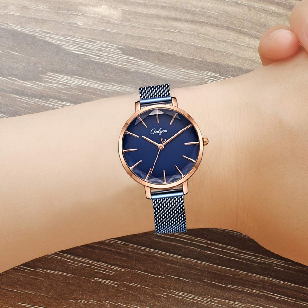 ONLYOU Women's Fashion Watches,Unique Face Design and 30M Waterproof,Analog Quartz Wristwatches with Stainless Steel Mesh Band (Blue) by onlyou (Image #6)