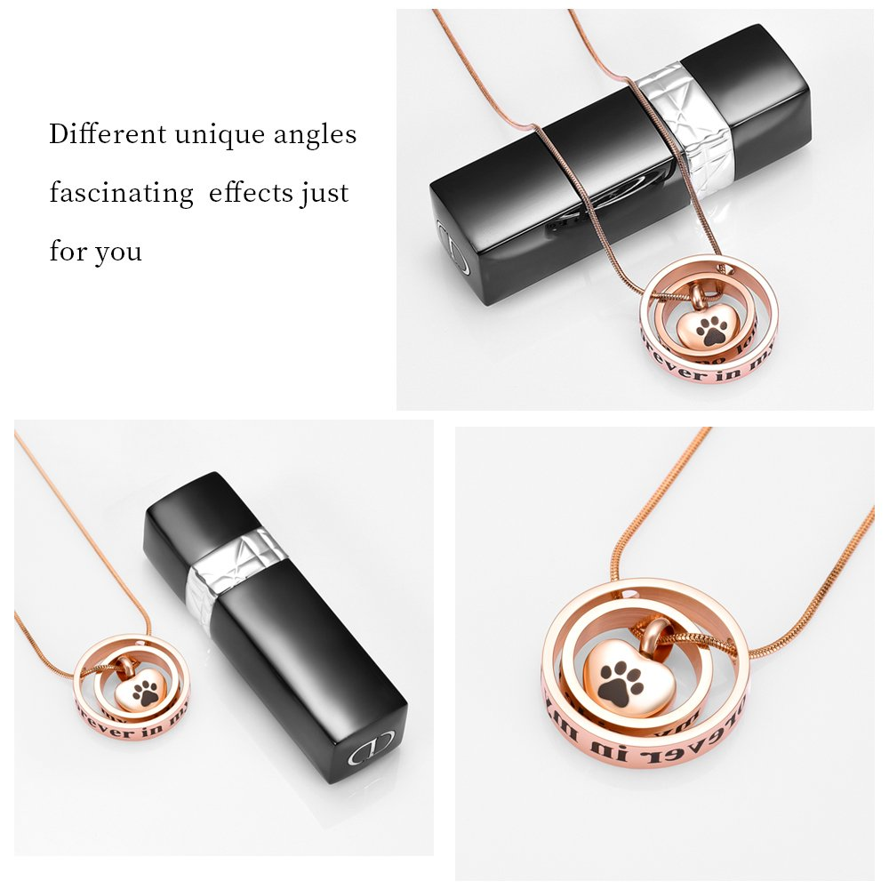 memorial jewelry Forever In My Heart,No Longer By My Side Cremation Pet Urn Necklace Screw Opens and Lock Ashes Pendant Jewelry for Dog Cat (Rose Gold) by memorial jewelry (Image #4)