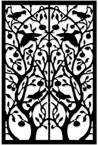 (Acurio Lattice Tree of Life Outdoor Decor Panel Screen, Black, 48 x 32 x 1/4