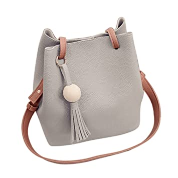 85a812ac1ed2 Buy Rrimin Women PU Leather Messenger Satchel Crossbody Shoulder Bag  Handbag(Gray) Online at Low Prices in India - Amazon.in