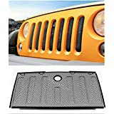 OPALL Front Mesh Grille Grill Grid Inserts Insect Net with Key Hood Lock for Jeep Wrangler JK JKU 2007 2008 2009 2010 2011 2012 2014 2013 2014 2015 2016