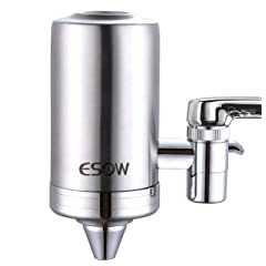 ESOW Faucet Mount Water Filter SUS304 Stainless Steel Reduce ChlorineLeadBPA Free Water Purifier with 7-Layer UF+ACF Filtration System Fits Standard Faucets (1 Filter Cartridges Included)