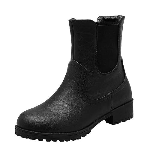 1942df027ce9 Dear Time Women Elastic Side Panel Shoes Block Heel Platform Slip On Short  Ankle Boots Booties