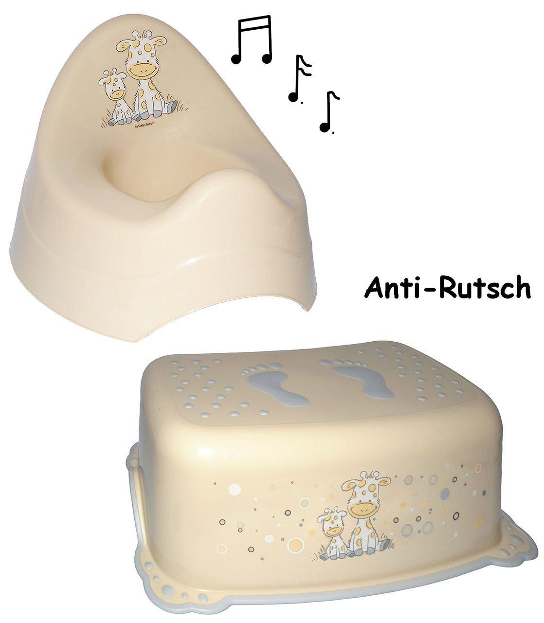alles-meine.de GmbH 2 tlg. Set: Anti Rutsch - Trittschemel & Töpfchen / Nachttopf - Musik - Gir..