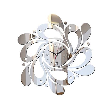 Fangfeen Bricolaje acrílico Mirrord Tatuajes de Pared del Reloj del Espejo de la Flor 3D Pegatinas