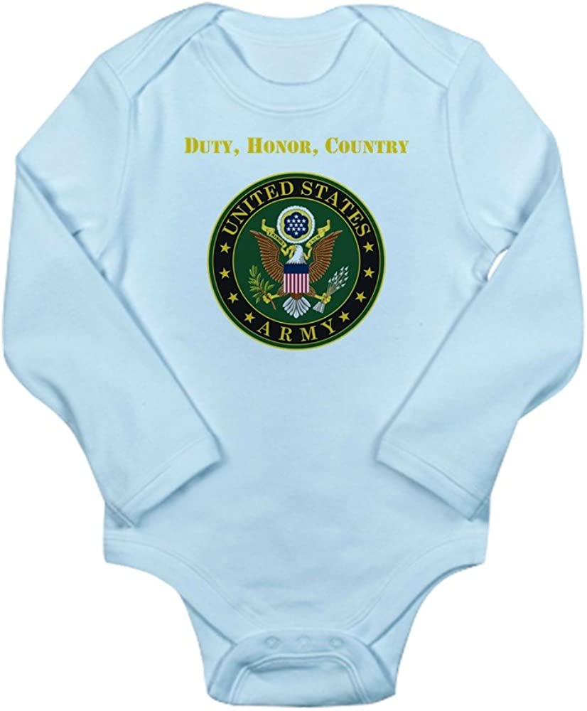 CafePress Duty Honor Country Army Body Suit Cute Long Sleeve Infant Bodysuit Baby Romper Sky Blue