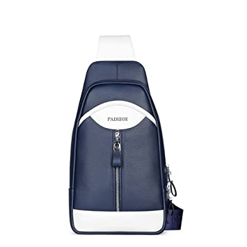 Padieoe bolso mochila de pecho piel cuero para hombres con cuero para diario o trabajo Azul: Amazon.es: Equipaje