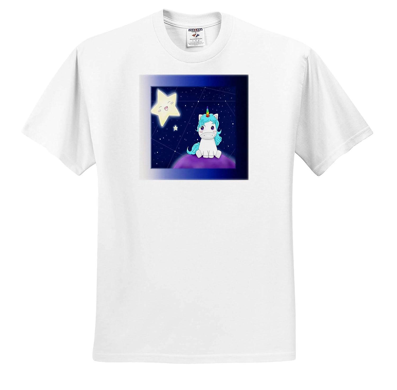 Unicorns Adult T-Shirt XL 3dRose Lens Art by Florene ts/_315322 Image of Cartoon Baby Unicorn with Night Sky and Stars