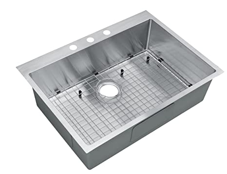 Single Bowl Kitchen Sink 30 Inch Drop In X Depth S 15 5 ...