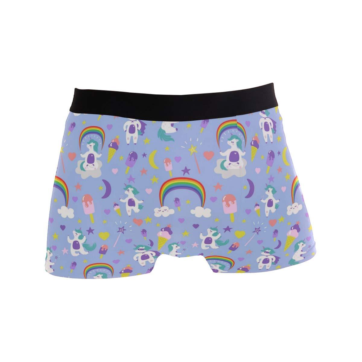 Mens Cute Cartoon Unicorn Underwear Boxer Briefs Ultra Soft Comfortable