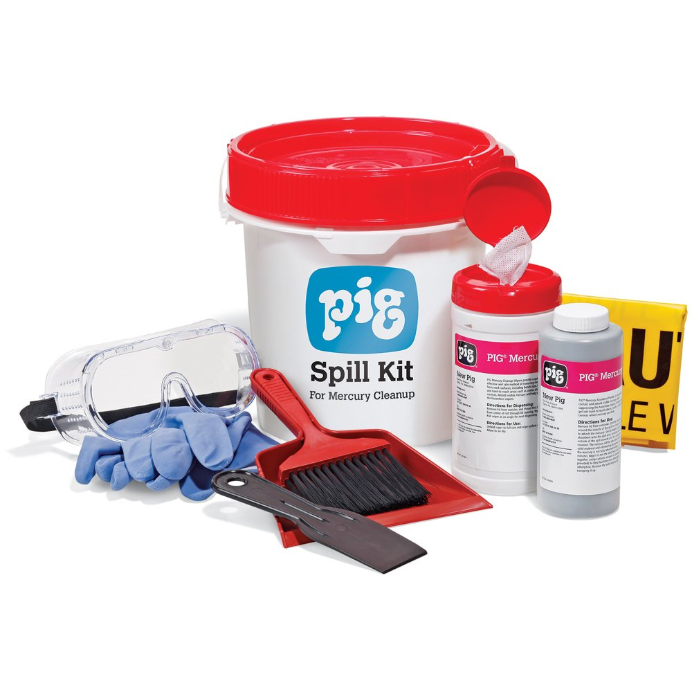 New Pig Spill Kit for Mercury, Absorbs 35-Ounce Mercury Spill, Suppress Harmful Vapors, KIT600