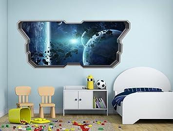Tapete 3D Effekt (148 x 63 cm, Asteroidengürtel 3D Effekt Wandtattoo)