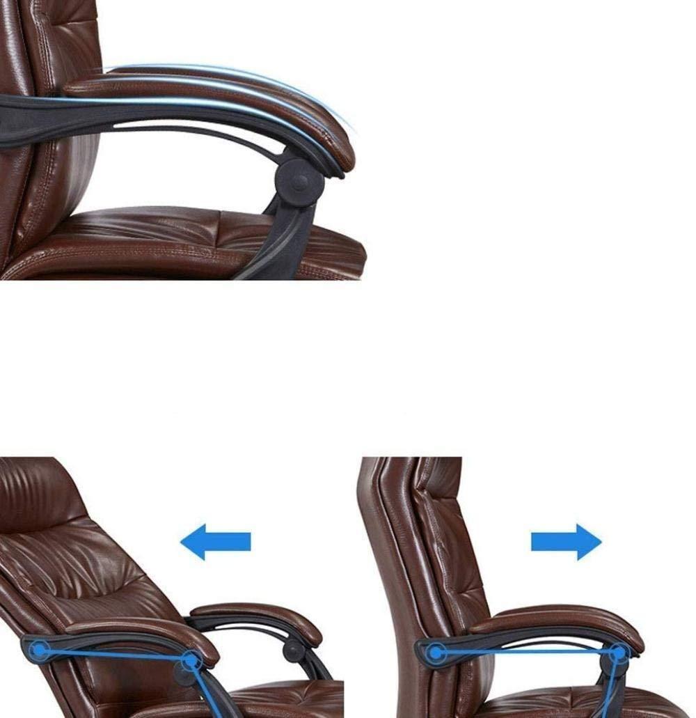 Skrivbordsstolar hög rygg verkställande svängbar kontor dator skrivbordsstol ergonomisk kontorsstol fotstöd hempaus stol lyft fåtölj (färg: svart) Brun