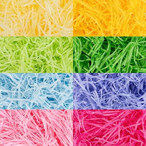 Whaline 320 g 11.3 oz Multicolor Easter Basket Grass Craft Shredded Tissue Raffia Gift Filler Paper Shreds for Baskets Egg Stuffers Spring Party Supplies Decorations (8 Colors)