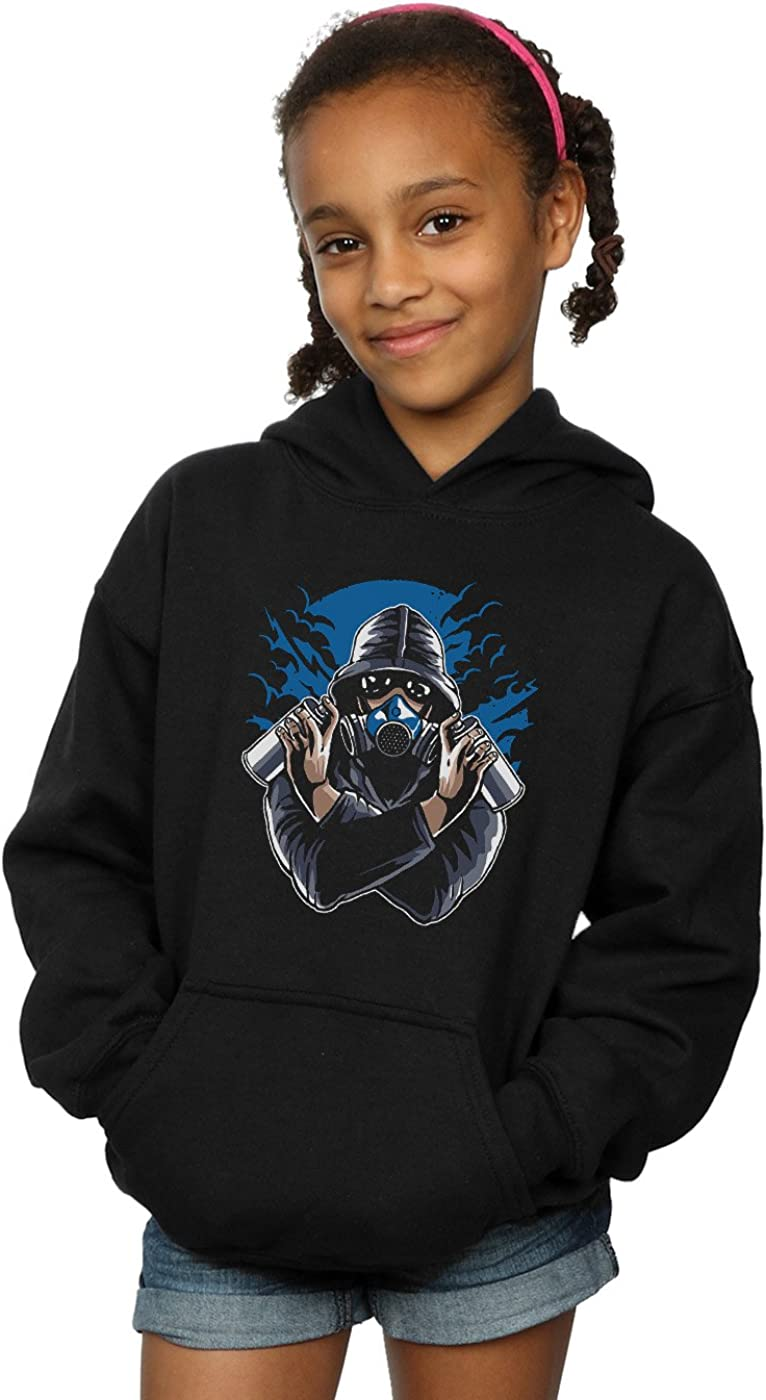 Drewbacca Girls Gas Mask Graffiti Hoodie Black 12-13 years
