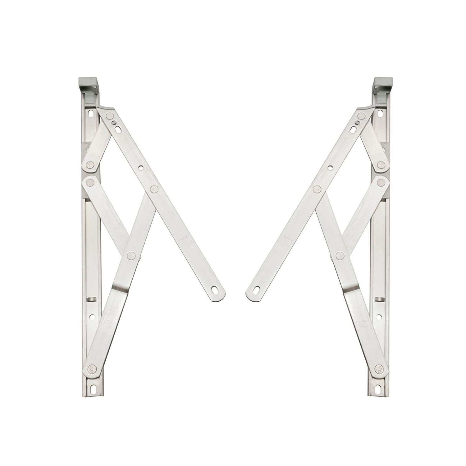 Pair of 17mm x 8' inch Top Hung Window Stays/Friction Hinges - Designed to stay open in any position due to friction, for uPVC or Aluminium profiled windows (209mm). Securistyle