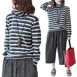 YESNO E58 Women Casual Loose Tee T-Shirt Tops Striped High Collar Long Sleeve