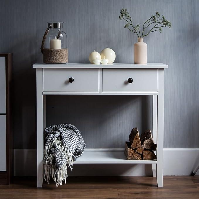 perfetto da usare come credenza o piano di appoggio mobile ideale per corridoi soggiorni e camere da letto in legno Windsor colore: bianco Tavolino con 1 cassetto e 1 ripiano Home Discount