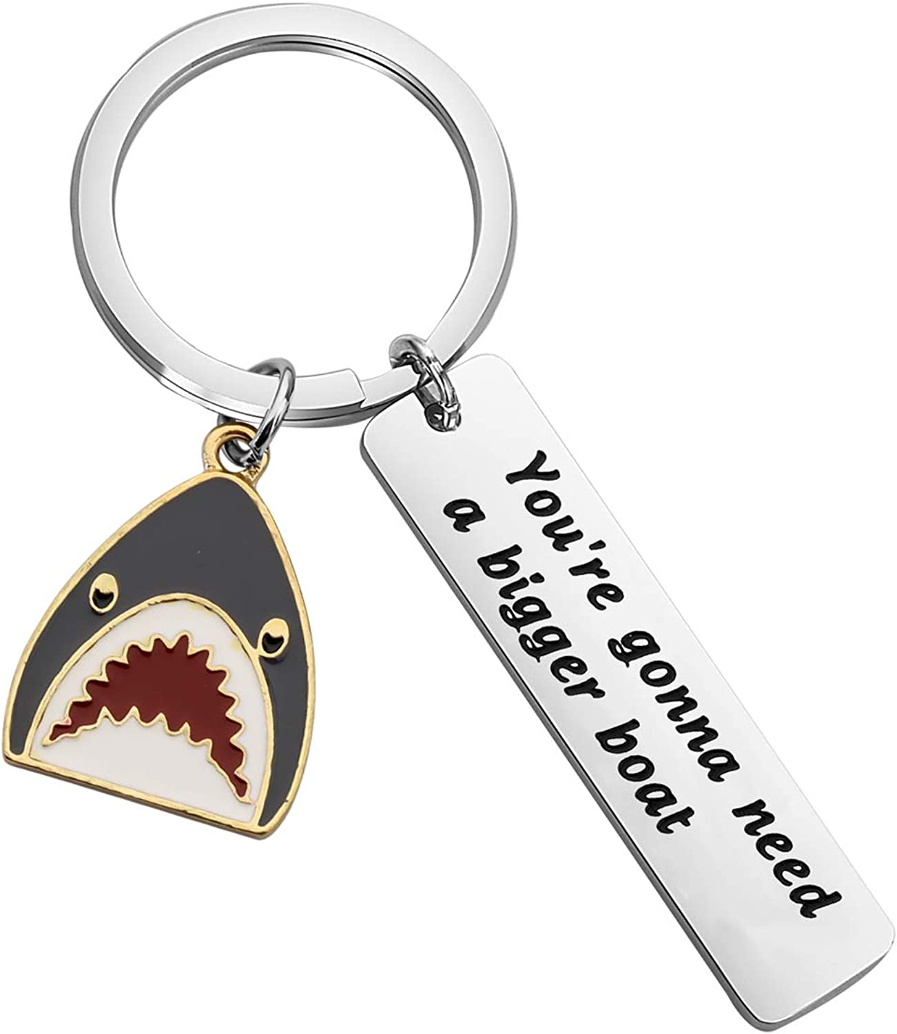 SEIRAA Shark Jewelry You're Gonna Need A Bigger Boat Keychain Gift for Shark Lover Movie Quote Keychain