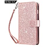 iPhone 6 Plus Case, iPhone 6S Plus Wallet Case,Dailylux Premium PU Leather+TPU Inner Shell Flip Case with 9 Card Slot Cover for iPhone 6/6s Plus 5.5 inch-Sparkle Rose Gold