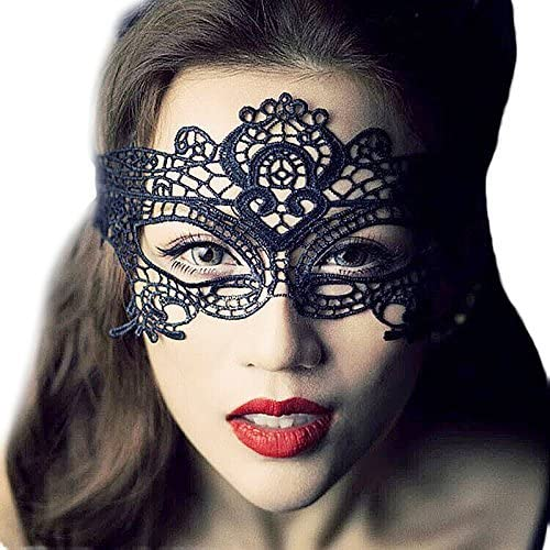 New Black /& Gold Lace Eye Mask With Rose Masquerade Fancy Dress Accessory