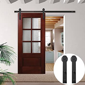 WINSOON Country Straight Wheel Exterior Diy Barn Door Track Sliding Single  Hardware Black Rail Steel Roller